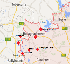 Location of each of the villages from Ballaghaderreen
