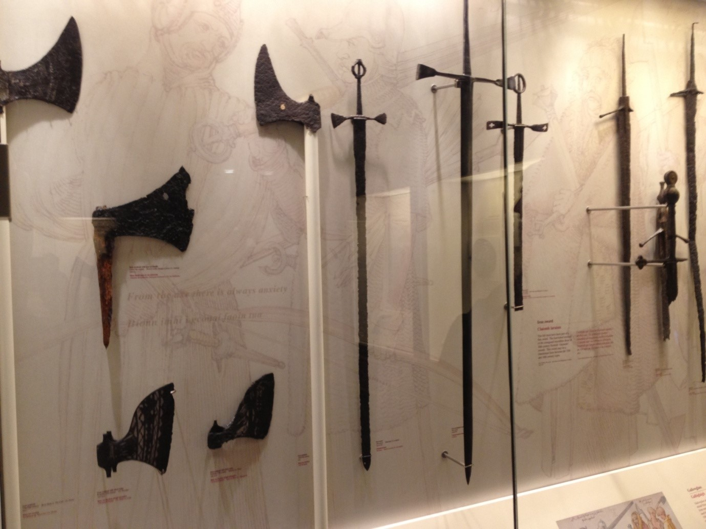 Display of Galloglass weapons in the National Museum, Collins Barracks (For size perspective the blade of the lower left axehead is a foot long)