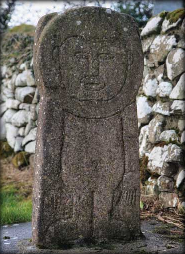 Replica burial slab in Carrowntemple